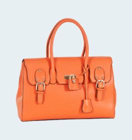 Trendy Colors Orange Rexine Handbag For Women